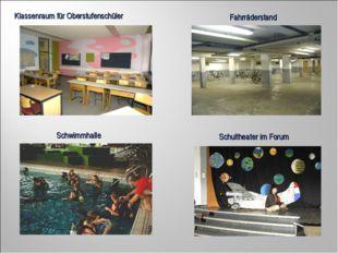 Klassenraum für Oberstufenschüler Fahrräderstand Schwimmhalle Schultheater im