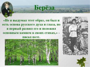 Берёза «Не я выдумал этот образ, он был и есть основа русского духа и глаза,