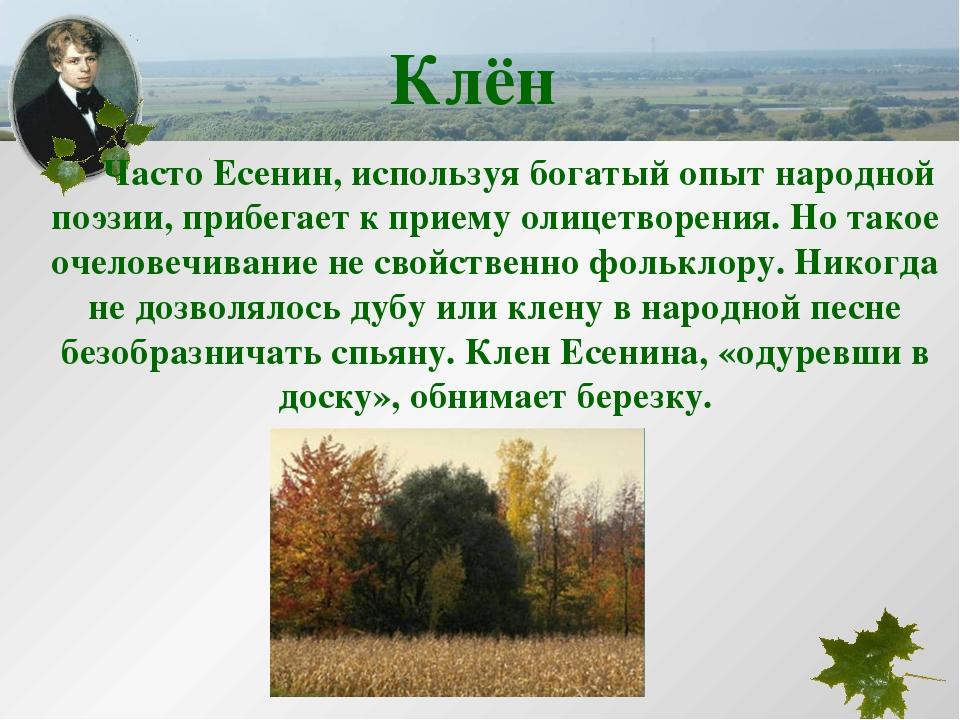 Часто Есенин, используя богатый опыт народной поэзии, прибегает к приему оли...