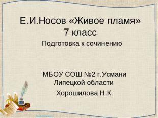 Е.И.Носов «Живое пламя» 7 класс Подготовка к сочинению МБОУ СОШ №2 г.Усмани Л