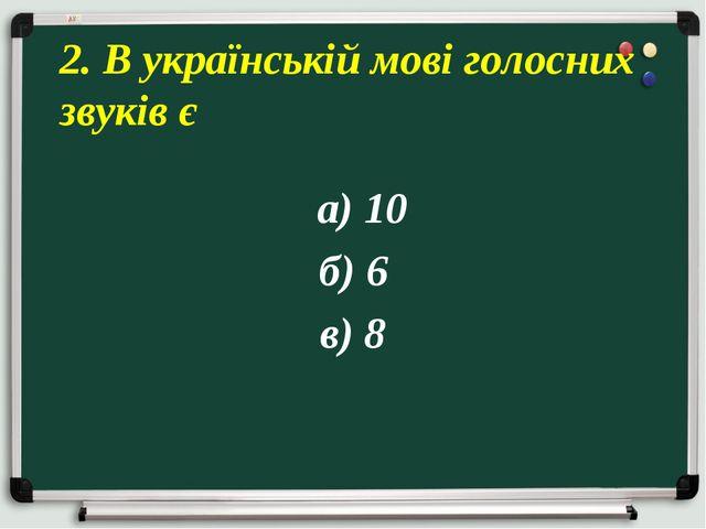 а) 10 б) 6 в) 8 2. В українській мові голосних звуків є