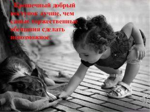 Крошечный добрый поступок лучше, чем самые торжественные обещания сделать не
