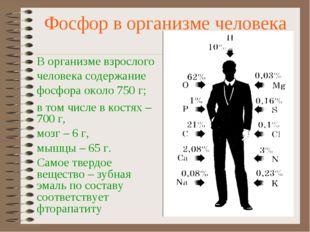 Фосфор в организме человека В организме взрослого человека содержание фосфора