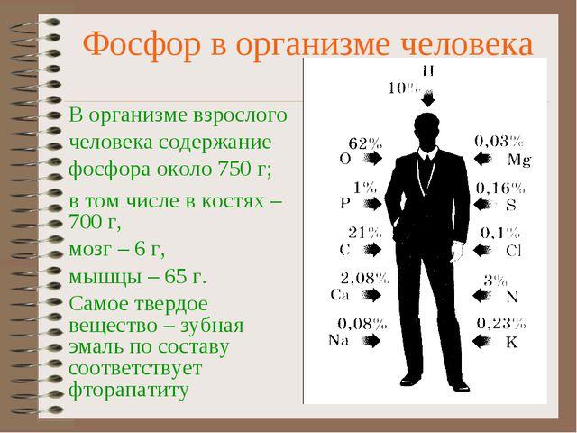 Фосфор в организме человека В организме взрослого человека содержание фосфора...