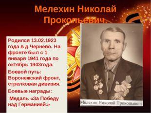 Мелехин Николай Прокопьевич. Родился 13.02.1923 года в д.Чернево. На фронте б