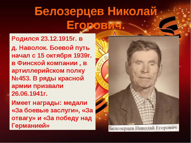 Белозерцев Николай Егорович. Родился 23.12.1915г. в д. Наволок. Боевой путь н...