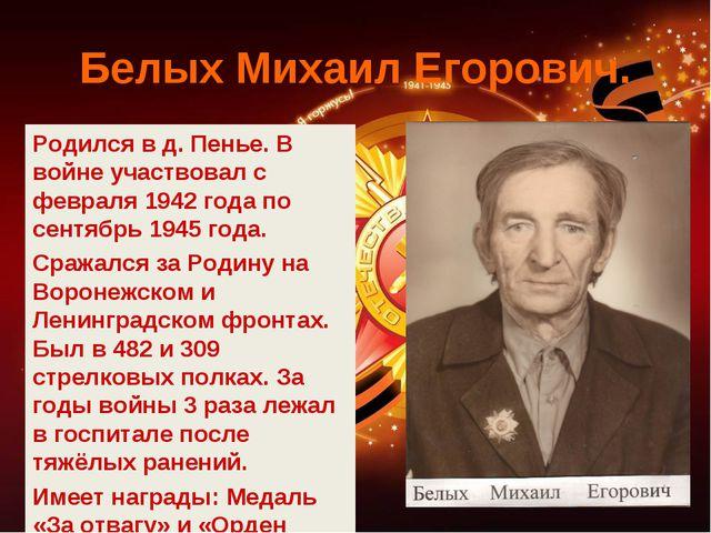 Белых Михаил Егорович. Родился в д. Пенье. В войне участвовал с февраля 1942...