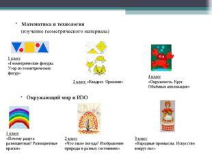 Математика и технология (изучение геометрического материала) 1 класс «Геометр