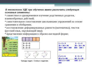 В технологии УДЕ при обучении важно различать следующие основные элементы: с