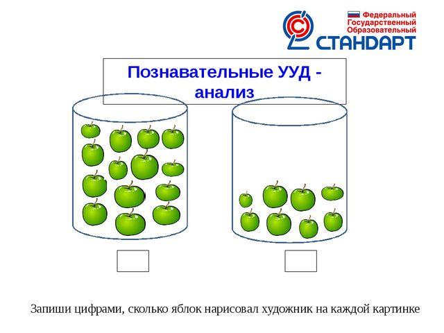 Познавательные УУД - анализ Запиши цифрами, сколько яблок нарисовал художник...
