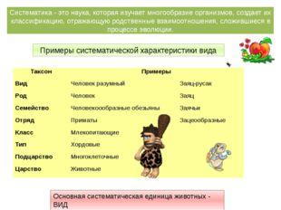 Примеры систематической характеристики вида Систематика - это наука, которая