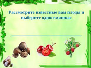 Рассмотрите известные вам плоды и выберите односемянные _____________________