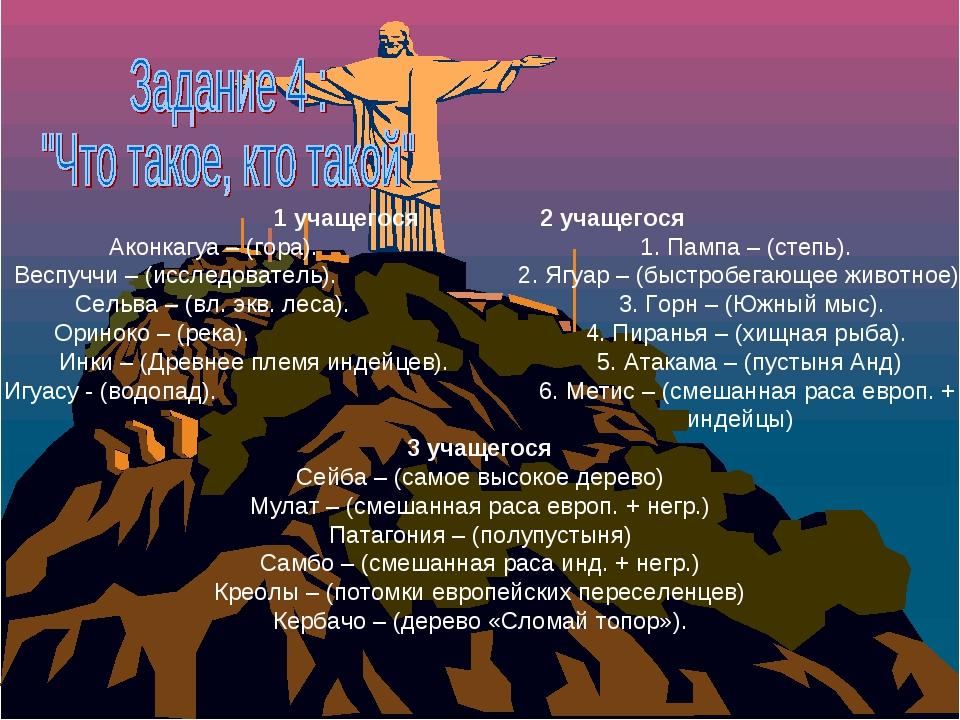 1 учащегося  2 учащегося Аконкагуа – (гора). 1. Пампа – (степь). Веспуччи –...
