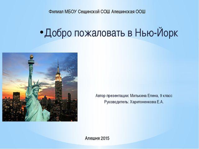 Добро пожаловать в Нью-Йорк Автор презентации: Митькина Елена, 9 класс Руково...