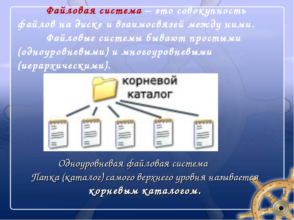 Файловая система – это совокупность файлов на диске и взаимосвязей между ним...