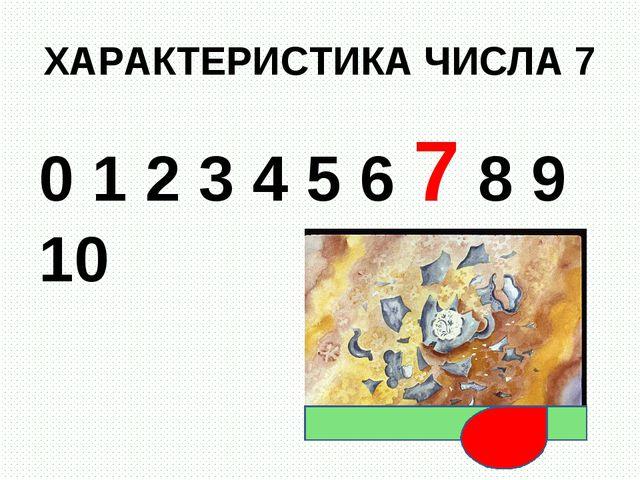 ХАРАКТЕРИСТИКА ЧИСЛА 7 0 1 2 3 4 5 6 7 8 9 10
