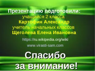 Спасибо за внимание! https://ru.wikipedia.org/wiki www.virasti-sam.com Презен