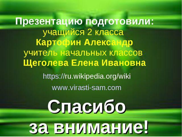 Спасибо за внимание! https://ru.wikipedia.org/wiki www.virasti-sam.com Презен...