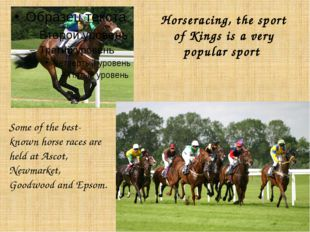 Horseracing, the sport of Kings is a very popular sport Some of the best-know