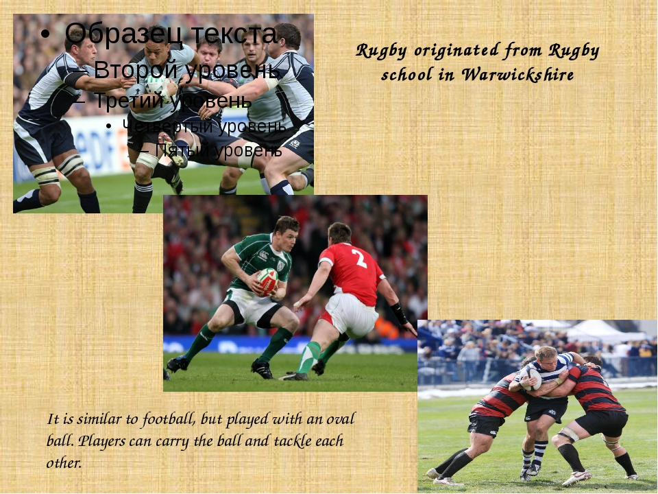 Rugby originated from Rugby school in Warwickshire It is similar to football,...