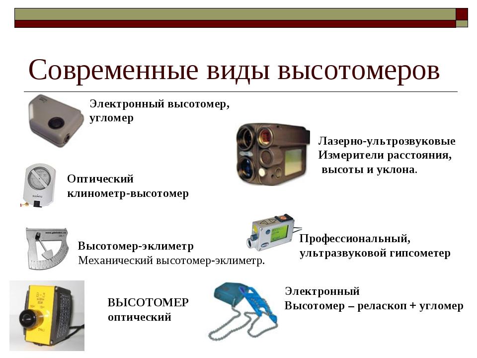 Современные виды высотомеров Электронный высотомер, угломер Оптический клином...