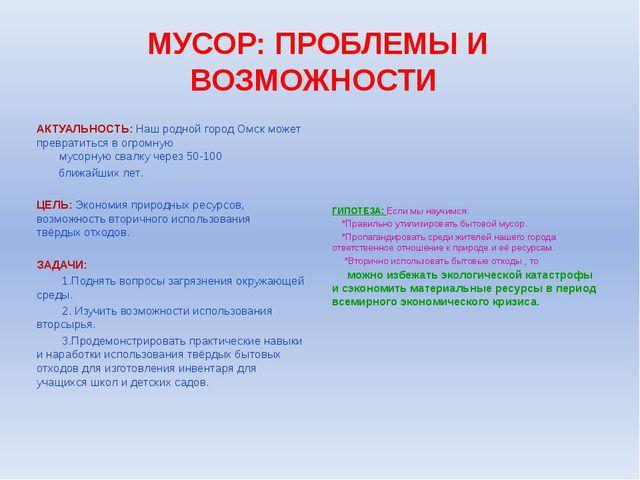 МУСОР: ПРОБЛЕМЫ И ВОЗМОЖНОСТИ АКТУАЛЬНОСТЬ: Наш родной город Омск может превр...