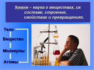 Химия – наука о веществах, их составе, строение, свойствах и превращениях. Те