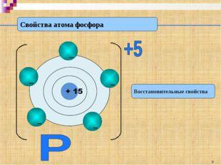 Свойства атома фосфора Восстановительные свойства *