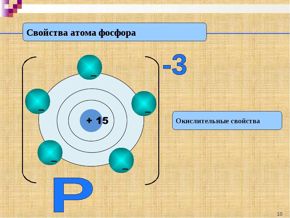 Свойства атома фосфора Окислительные свойства *