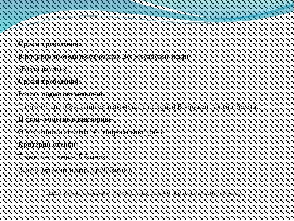 Сроки проведения: Викторина проводиться в рамках Всероссийской акции «Вахта...