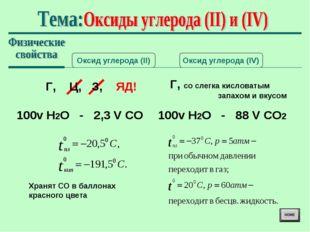 Оксид углерода (II) Оксид углерода (IV) Г, Ц, З, ЯД! Г, со слегка кисловатым