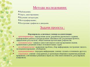Методы исследования: Наблюдения; Опрос, анкетирование; Изучение литературы; Ф