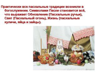 Практически все пасхальные традиции возникли в богослужении. Символами Пасхи