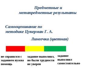 Предметные и метапредметные результаты Самооценивание по методике Цукерман Г.