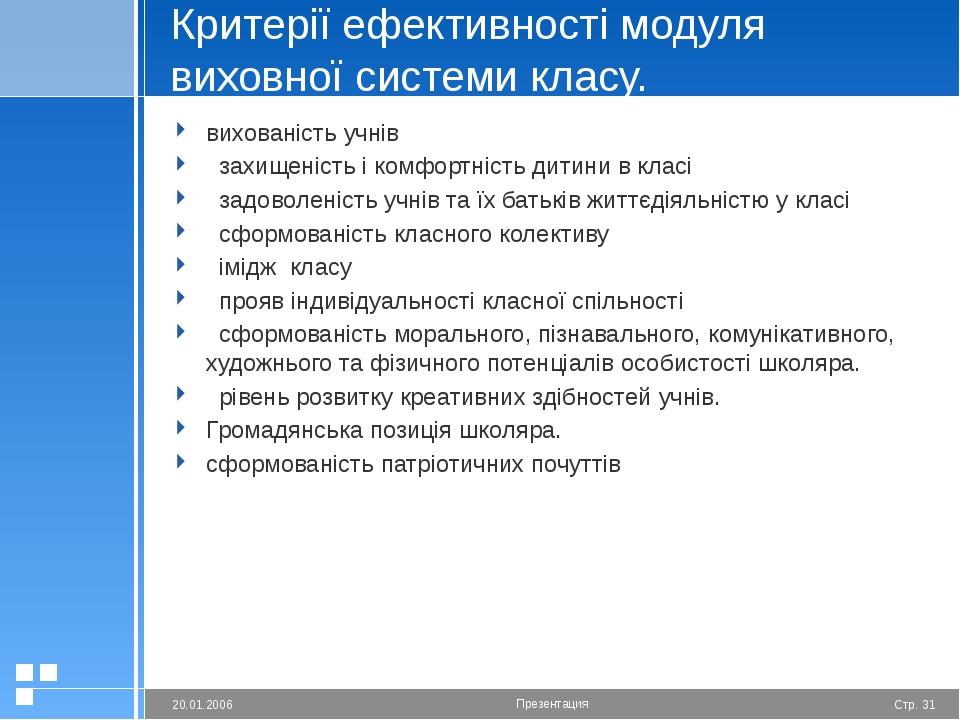 Критерії ефективності модуля виховної системи класу. вихованість учнів  захи...