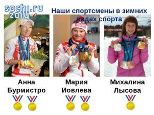Анна Бурмистрова Мария Иовлева Михалина Лысова Наши спортсмены в зимних видах