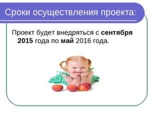 Сроки осуществления проекта: Проект будет внедряться с сентября 2015 года по