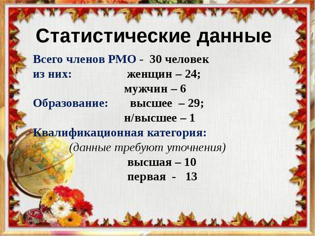 Всего членов РМО - 30 человек из них: женщин – 24; мужчин – 6 Образование: вы...