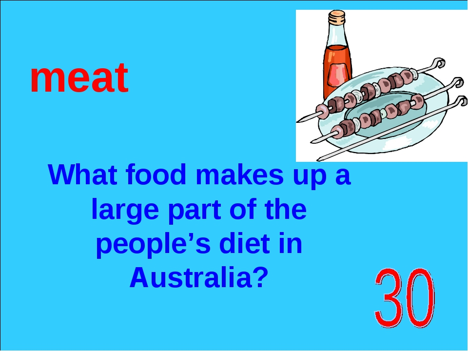 What food makes up a large part of the people's diet in Australia? meat