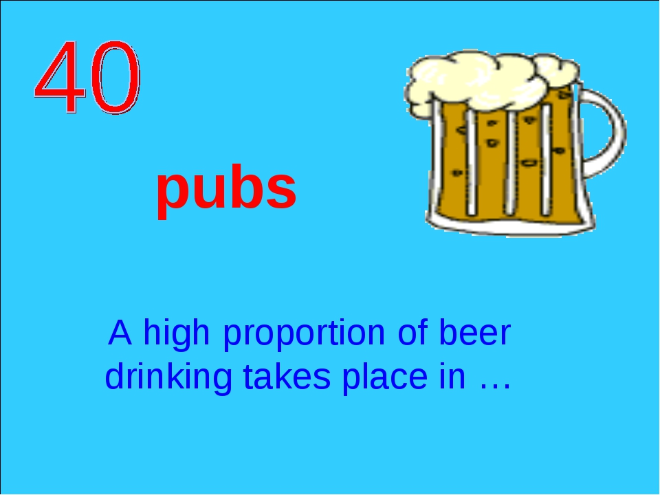 A high proportion of beer drinking takes place in … pubs