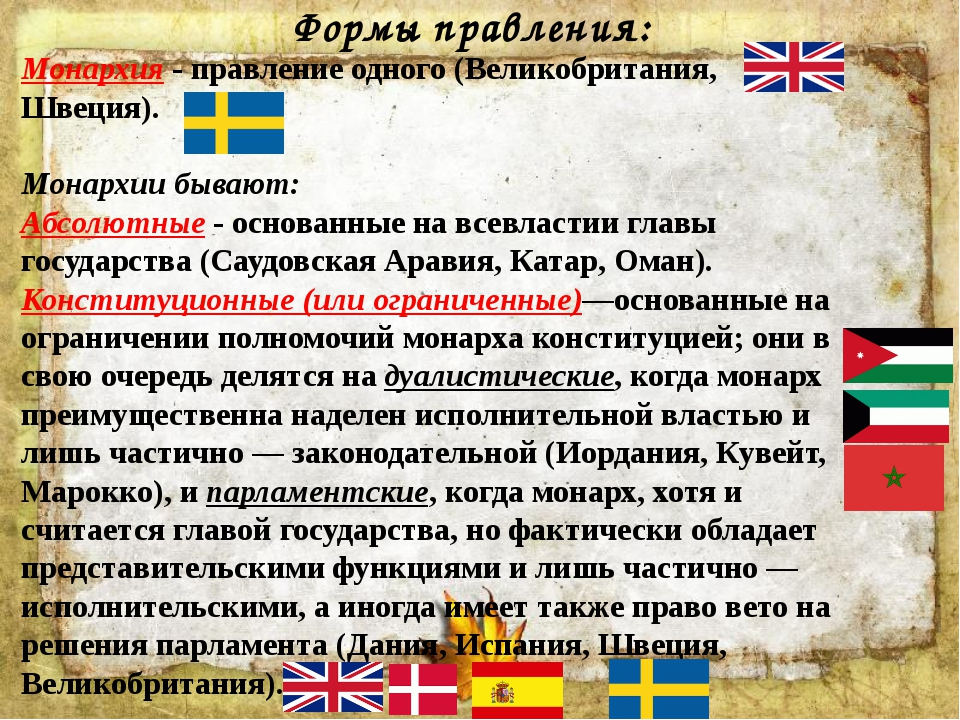 Формы правления: Монархия - правление одного (Великобритания, Швеция). Монарх...