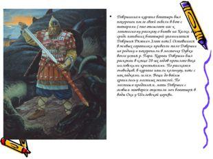 Добрынином кургане богатырь был похоронен после своей гибели в бою с татарами