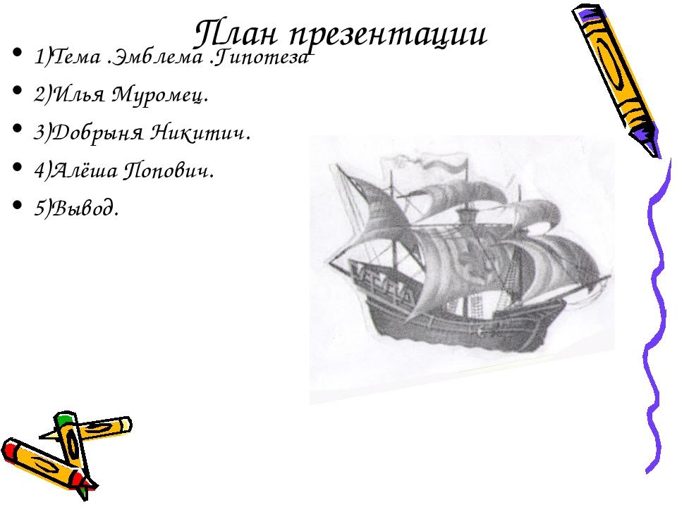 План презентации 1)Тема .Эмблема .Гипотеза 2)Илья Муромец. 3)Добрыня Никитич....