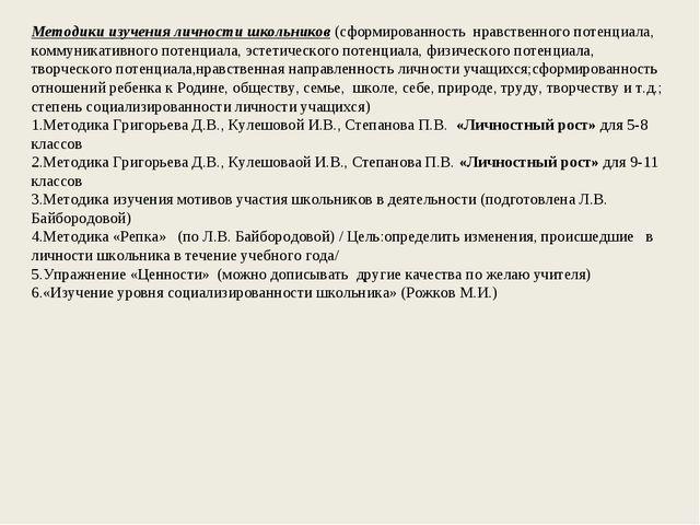 Методики изучения личности школьников(сформированность нравственного потенц...