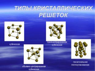 кубическая объемно-центрированная кубическая гранецентрированная кубическая г