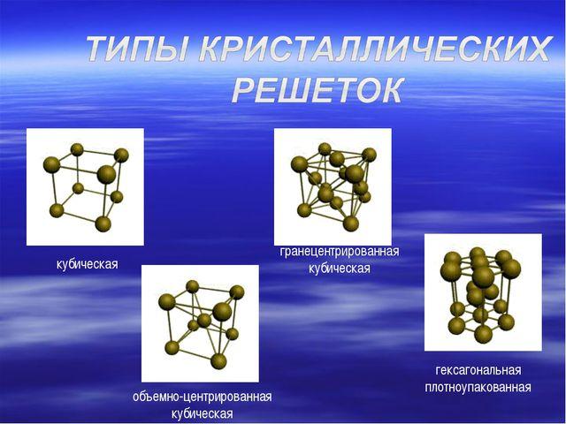 кубическая объемно-центрированная кубическая гранецентрированная кубическая г...