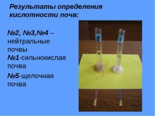 Результаты определения кислотности почв: №2, №3,№4 – нейтральные почвы №1-сил