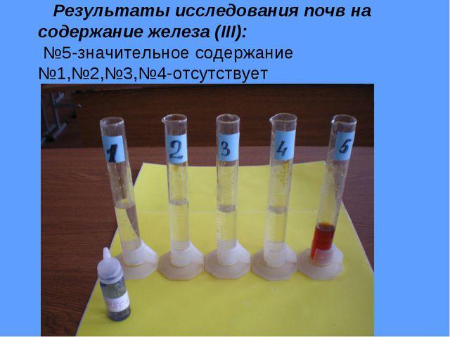 Результаты исследования почв на содержание железа (III): №5-значительное сод...