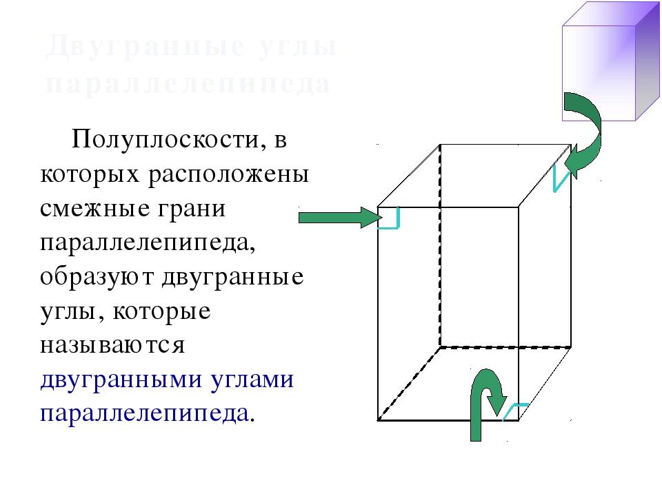 Двугранные углы параллелепипеда Полуплоскости, в которых расположены смежные...