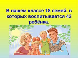 В нашем классе 18 семей, в которых воспитывается 42 ребёнка.